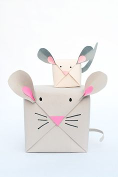 Pin for Later: 51 Creative DIY Gift Wrap Ideas For Any Occasion Mouse Gift Wrap These cute little critters will light up your child's face and only takes minutes to make!