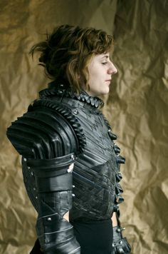 An amazing suit of armour made from old bicycle tyres.