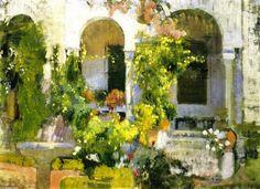 The Athenaeum - Garden of the Sorolla House (Joaquin Sorolla y Bastida - ) Garden Painting, House Painting, Painting Art, Abstract Landscape, Landscape Paintings, Monet To Matisse, Spanish Painters, Painter Artist, Paintings I Love