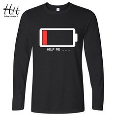 6980615f HanHent Men T-shirt Funny HELP ME Energy Low T Shirts Male Battery Long  Sleeve