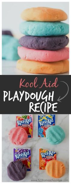 Kool Aid Playdough Recipe – This is the BEST playdough recipe ever! It takes only 5 minutes is easy-to-make smells amazing and is cheap too. This is the perfect homemade playdough recipe for kids activities (toddler preschool prek kindegarten first grade Easy Crafts For Kids, Summer Crafts, Toddler Crafts, Projects For Kids, Diy For Kids, Fun Crafts, Toddler Preschool, Preschool Kindergarten, Craft Projects