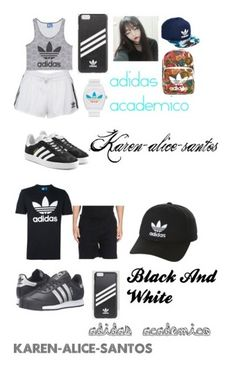 """adidas academico e Black And White"" by karen-alice-santos on Polyvore featuring moda, adidas Originals, Ray-Ban, adidas, academia, Karen, men's fashion, menswear e blackandwhite"