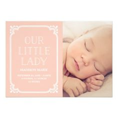 Our Little Lady   Rustic Birth Announcement