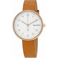 Skagen Signatur White Dial Ladies Watch ($75) ❤ liked on Polyvore featuring jewelry, watches, analog watches, stainless steel watches, water resistant watches, white faced watches and dial watches