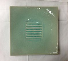 """Jars Toba Celadon Square Dinner Plate 9 1 2"""" Crackle Faience New Made in France   eBay"""