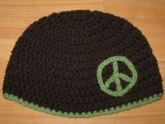 PEACE SIGN Crocheted Beanie Hat  Brown/Tea Leaf Green  by amlowi, $7.99