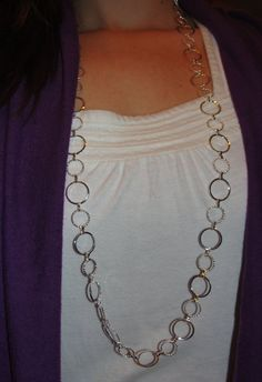 Long Silver Necklace by WhisperWillowDesignz on Etsy, $15.00
