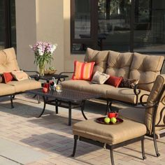 Darlee Santa Anita Cast Aluminum Deep Seating Patio Conversation Set - Seats 6 by Darlee. $2849.00. Set Includes: Coffee Table, End Table, Sofa, Loveseat, Lounge Chair, Ottoman, Sesame-Colored Polyester Cushions. Powder-coated cast aluminum is rust resistant. Our popular Santa Anita collection has a stylish look that matches nearly any decor. Designed to last for years with minimal maintenance. Comfortably relax with deep seating and thick cushions. Darlee Santa Ani...