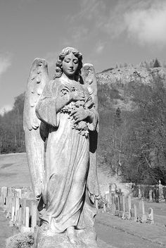 As you travel life's winding road, angels light the way and share the load. Cemetery Angels, Cemetery Statues, Cemetery Art, Angel Statues, Angel Sculpture, I Believe In Angels, Angel Prayers, Angels Among Us, Angel Pictures