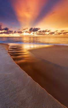 The ocean at sunset or sunrise. Beautiful Sunset, Beautiful Beaches, Beautiful World, Beautiful Images, Simply Beautiful, Beautiful Scenery, Stunning Photography, Nature Photography, Beach Photography