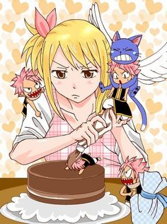 Lucy's just trying to icing the cake, and Natsu keeps getting in the way with his excitement LOL ~ This is too cute~ <3 ~ Natsu & Lucy ~ Fairytail ~ Nalu
