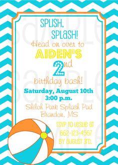 Pool Party Birthday Invitation - 5x7 JPG - 4x6 JPG - DIY - Punky Doodle Kids - Punky Doodle Designs on Etsy, $10.00