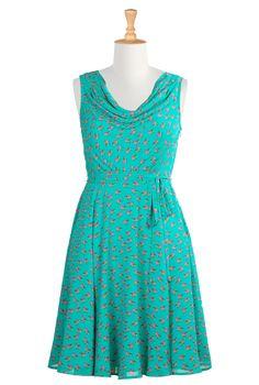Bird Print Crepe Dresses, Cowl Neck Retro Dresses Shop womens designer clothes - Dresses: Strapless, Cocktail, Fashion Dresses, | eShakti