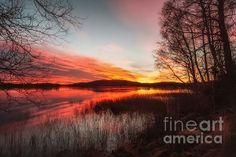 sunset on ice water