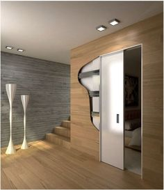 A pocket door system supplied in kit form for plasterboard walls. Comes complete with a full finishing kit comprising wooden jambs, dust brushes, recessed door posts and rubber gaskets. Plasterboard Wall, Door Wall, Pocket Doors, Inspiration Wall, Sliding Doors, Stairs, Mirror, Interior, Refurbishment