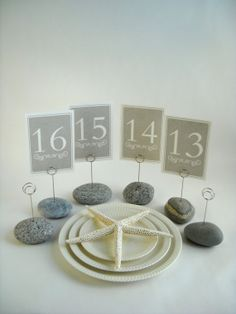 Beach Stone Wedding Table Number Holders in Shades of Gray