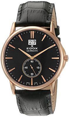EDOX Unisex-Armbanduhr EDOX LES BÈMONTS BIG DATE Analog Quarz Leder 64012 37R NIR - http://uhr.haus/edox/edox-unisex-armbanduhr-edox-les-b-monts-big-date