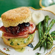 Fluffy Cream Cheese Biscuits—Fluffy Cream Cheese Biscuits with Figgy Port Chutney, Blue Cheese Butter, and Ginger Ale-Brown Sugar Smoked Ham make up this delectable #KentuckyDerby sandwich. | SouthernLiving.com