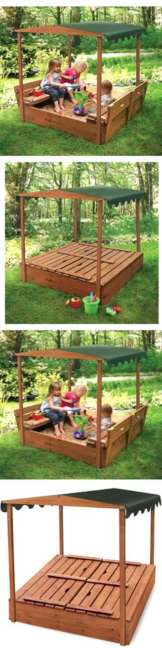 Sandbox Toys And Sandboxes 145990: Badger Basket Covered Convertible Cedar  Sandbox With Canopy And 2