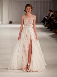 AliExpress.com Product - 2015 Paolo Sebastian Sheer Chiffon Beach Wedding Dresses High Slit A Line Cap Sleeves Beaded Bridal Gowns 2015