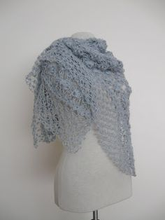 Knitting And Beading Wedding Bridal Accessories and Free pattern: Light grey crochet mohair shawl in seashell design