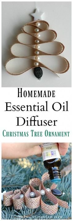 Learn how to make a Homemade Essential Oil Diffuser Christmas Tree Ornament out of lava beads, pearl beads and ribbon + Pine Essential Oil!