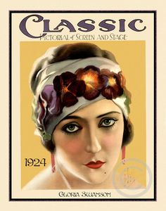 Beautiful Art Deco Classic Icon Gloria Swanson Silent Screen Stage Actress Pansies in Hair Hollywood  Giclee Fine Art Print 11x14 1924