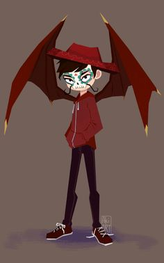 Monster Marco; THIS WOULD BE SO CUTE THO! LIKE LITTLE NERVOUS SAFE KID MARCO WITH BAT WINGS THAT HE CURLS AROUND HIMSELF AAAAAA