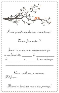 Convites de Noivado Simples branco para imprimir