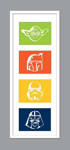 4 Star Wars Character Silhouettes for Nursery/Boys Nursery/Darth Vader/Yoda/Stormtrooper - Set of 4 - 5x7s by DesignCreatives on Etsy https://www.etsy.com/listing/182323453/4-star-wars-character-silhouettes-for
