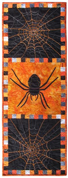 """I don't care for spiders all that much, but I do like the spiderweb quilting here. Previous pinner said: Halloween quilt inspiration. """"What's for Dinner?"""" table runner by Susan Brubaker Knapp. Published in: Quilting Arts Gifts Halloween Quilts, Halloween Sewing Projects, Fall Halloween, Halloween Crafts, Halloween Spider, Trendy Halloween, Halloween Signs, Halloween Stuff, Vintage Halloween"""