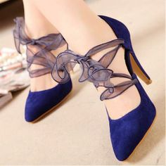 Perfect Satin Silk Ribbon Blue Pointy Closed Toe Stiletto High Heel Cross Strap Pumps Blue High Heels, High Heels Stilettos, Pumps, Buy Shoes, Me Too Shoes, Pointed Toe Heels, Elegant Woman, Wholesale Jewelry, Lace Up
