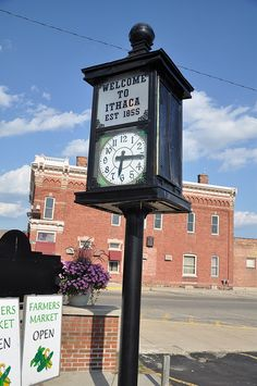 Town Clock in Ithaca, Michigan, established in 1855, photo by cmu chem prof, via Flickr