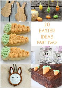 20 Easter Ideas Part Two. The bright colors of Easter projects are perfect for the warmer weather, These projects include decorations and even yummy treats and also great gift ideas and that will love!