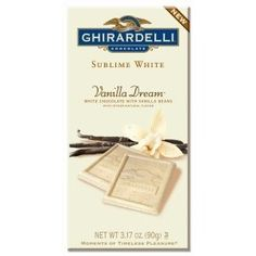 ghirardelli vanilla dream bar Ghirardelli Chocolate, Chocolate Gifts, White Chocolate, Dream Bars, Vanilla, Alcohol, Sweets, Candy, 3