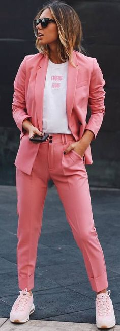 #spring #outfits pink woman's suit, sneakers, white tshirt