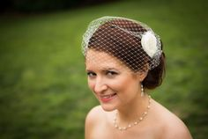 Bridal Veil and Flower Satin Fascinator Flower by kathyjohnson3, $55.00