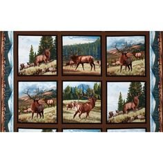 """North American Wildlife Elk Panel Earth Brown from @fabricdotcom%0A%0ADesigned by Al Agnew for Elizabeth's Studio, this cotton print fabric panel measures approximately 24"""" x 44"""". Colors include black, brown, blue, green and grey."""