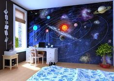 A space-themed boy's bedroom w