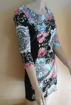 NWT XHILARATION Body Con DRESS TRQ/Pink/BLACK Print SIZE LARGE , bust 36, #S124
