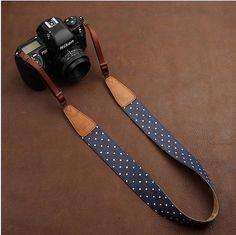 White Dot lovely strap Handmade Leather Camera Strap by AllureLove, $29.99