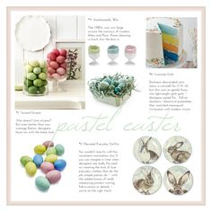 pastel easter by levai-magdolna on Polyvore featuring interior, interiors, interior design, home, home decor, interior decorating, Williams-Sonoma and Sur La Table
