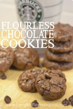 What's better than a dense, rich, chewy chocolate cookie? Yep, these Starbucks copycat Flourless Chocolate Cookies are pretty much perfection on a plate! Gluten Free Cookie Recipes, Gluten Free Sweets, Gluten Free Cookies, Gluten Free Baking, Cookies Vegan, Almond Cookies, Shortbread Cookies, Sugar Cookies, Tea Cakes