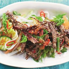 Try this Punchy Crunchy Lamb Noodle Salad recipe by Chef Jamie Oliver. This recipe is from the show Save with Jamie. Thai Beef Salad, Meat Salad, Food Network Recipes, Cooking Recipes, Healthy Recipes, Wok Recipes, Healthy Food, Healthy Eating, Save With Jamie Recipes