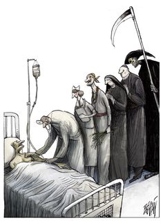 Procession of Bedside Visitors: Front of line MD. Back of line Grim Reaper Arte Horror, Horror Art, Caricatures, Pictures With Deep Meaning, Satirical Illustrations, Meaningful Pictures, Deep Art, Social Art, Art Drawings