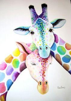Rainbow giraffes.