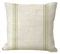 Double Muted Green Grain Sack Stripe in inch Pillow Cover Burlap Fabric, Burlap Pillows, Custom Printed Fabric, Printing On Fabric, Grain Sack, Pillow Forms, Cover Size, Outdoor Fabric, Fabric Samples