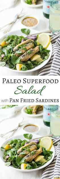 Paleo Pan Fried Superfood Salad Recipe - This healthy salad will have you loving sardines! | wickedspatula.com Paleo Salad Recipes, Superfood Recipes, Slaw Recipes, Fish Recipes, Real Food Recipes, Healthy Recipes, Keto Recipes, Paleo Dinner, Easy Dinner Recipes