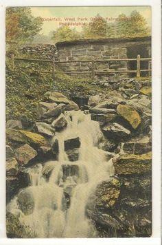 Waterfall WEST PARK DRIVE Fairmount Park Phil Pa Vintage Postcard