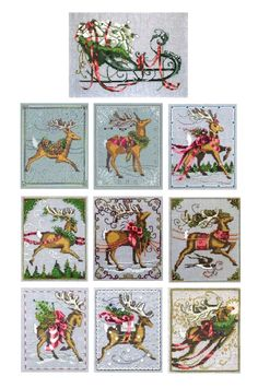These are Nora Corbett Christmas Reindeer series including the sleigh. Santa Cross Stitch, Cross Stitch Books, Cross Stitch Charts, Cross Stitch Designs, Cross Stitch Patterns, Cross Stitching, Cross Stitch Embroidery, Cross Stitch Collection, Cross Stitch Pictures